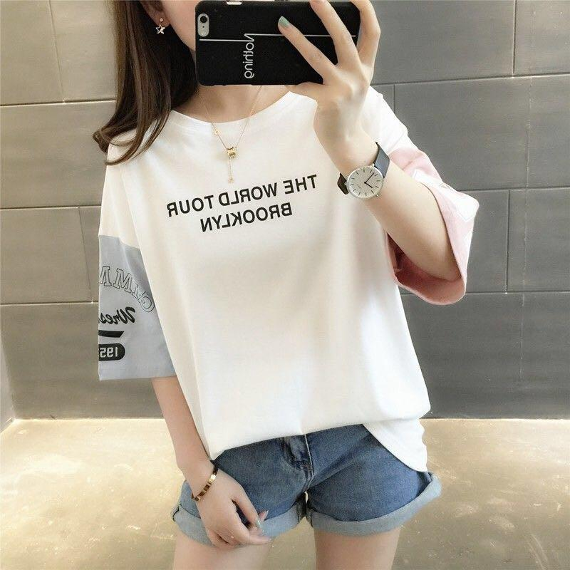 Korean Half Sleeve Summer Preppy T-Shirt Multicolor Top #JU2827-Black-M-Juku Store