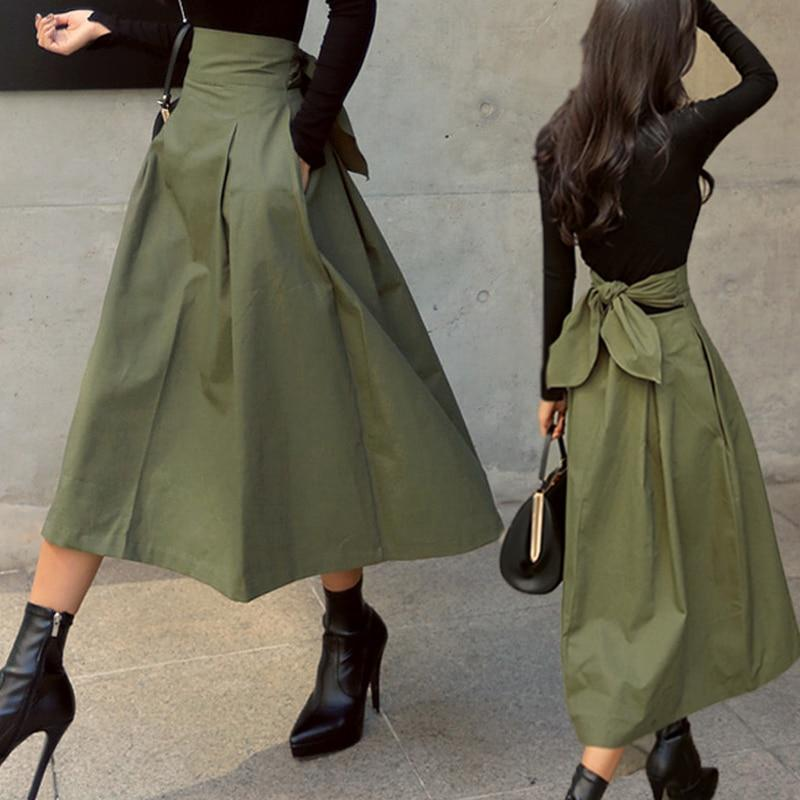 Korean High Waist Autumn Bow Long Skirt #JU2905-Juku Store