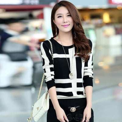 Korean Knitted Autumn Sweater Casual O-Neck Pullover #JU2965-Black-L-Juku Store