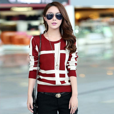 Korean Knitted Autumn Sweater Casual O-Neck Pullover #JU2965-Red-L-Juku Store