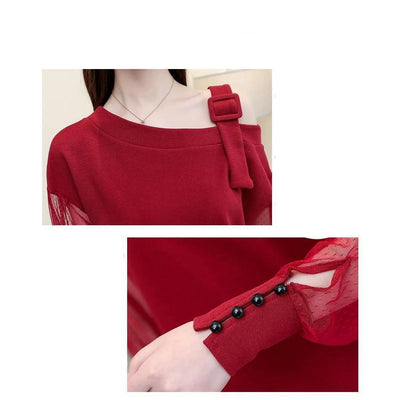 Korean Mesh Sleeve Off Shoulder Blouse Buckle Strap Top #JU2657-Juku Store