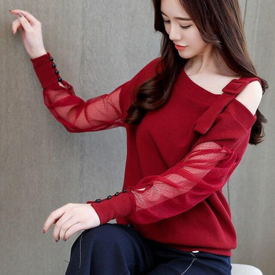 Korean Mesh Sleeve Off Shoulder Blouse Buckle Strap Top #JU2657-Red-XL-Juku Store