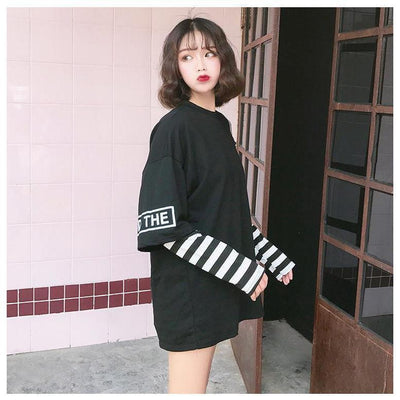 Korean Oversized Long Sleeve T-Shirt Off Shoulder Kawaii Top #JU2603-Juku Store