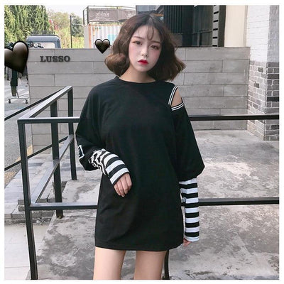 Korean Oversized Long Sleeve T-Shirt Off Shoulder Kawaii Top #JU2603-Black-L-Juku Store