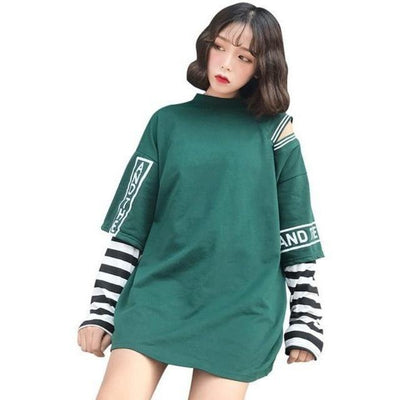 Korean Oversized Long Sleeve T-Shirt Off Shoulder Kawaii Top #JU2603-Green-L-Juku Store
