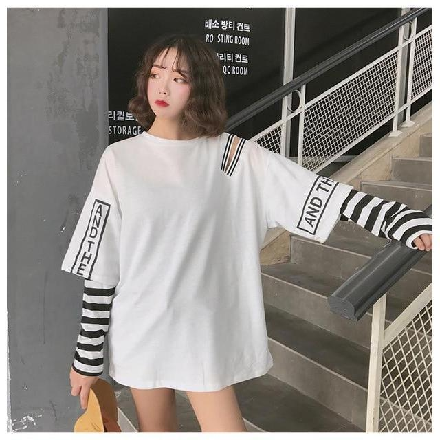 Korean Oversized Long Sleeve T-Shirt Off Shoulder Kawaii Top #JU2603-White-L-Juku Store