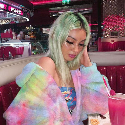 Korean Rainbow Faux Fur Coat Pastel Outerwear #JU2647-Juku Store