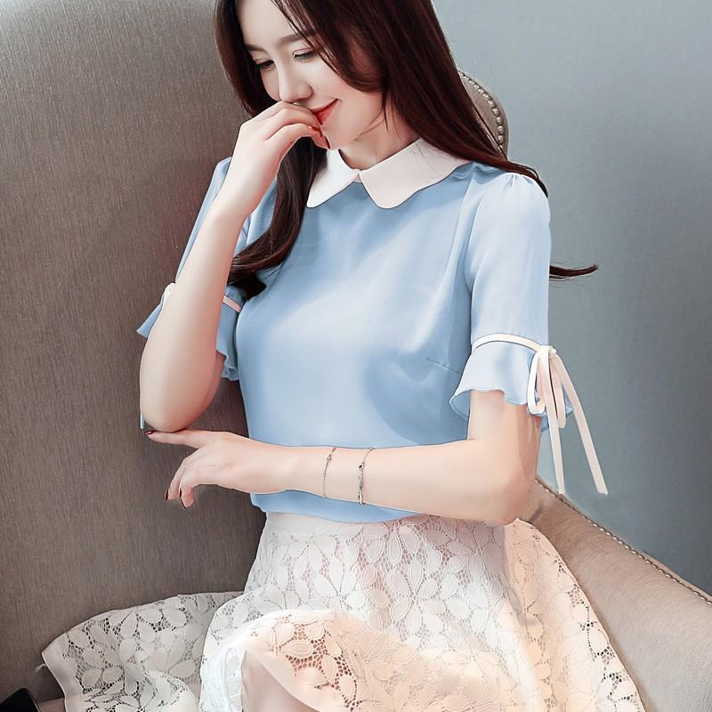 Korean Short Bow Chiffon Blouse Kawaii Top #JU2533-Juku Store