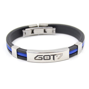 KPOP GOT7 Rubber Clasp Wristband [3 Colors] #JU1997-Blue-Juku Store