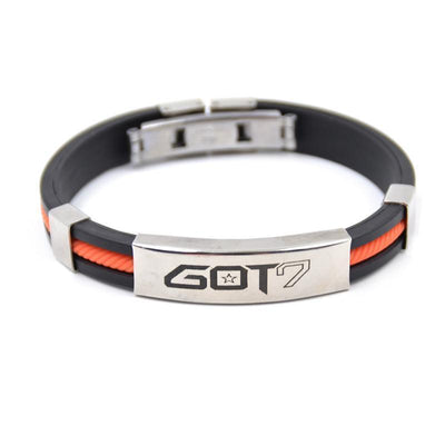 KPOP GOT7 Rubber Clasp Wristband [3 Colors] #JU1997-Orange-Juku Store