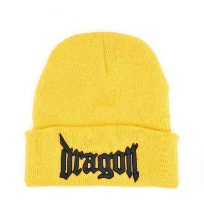 Kpop Hip Hop Dragon Beanie Hat [4 Colors] #JU1841-Yellow-Juku Store