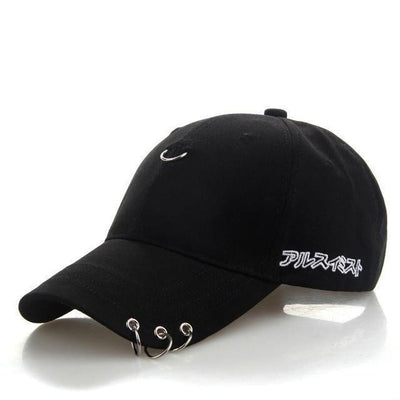 KPOP Iron Ring Pierced Adjustable Baseball Cap [3 Colors] #JU2306-Black-Juku Store