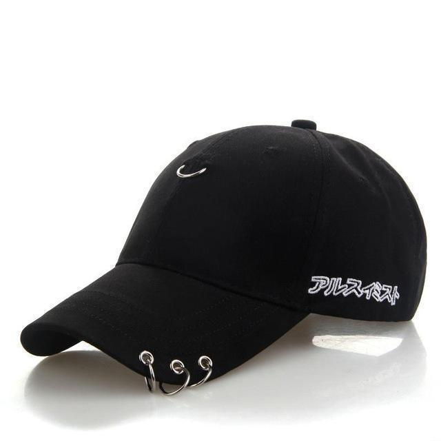 KPOP Iron Ring Pierced Adjustable Baseball Cap [3 Colors] #JU2306-Juku Store