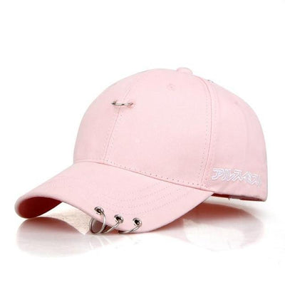 KPOP Iron Ring Pierced Adjustable Baseball Cap [3 Colors] #JU2306-Pink-Juku Store