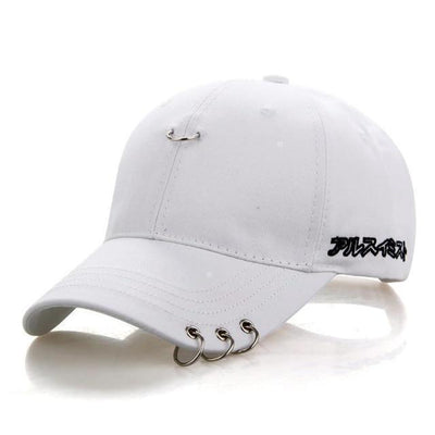 KPOP Iron Ring Pierced Adjustable Baseball Cap [3 Colors] #JU2306-White-Juku Store