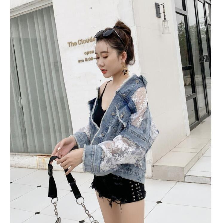 Lace Stitching Denim Jacket Korean Streetwear #JU2814-XL-Juku Store