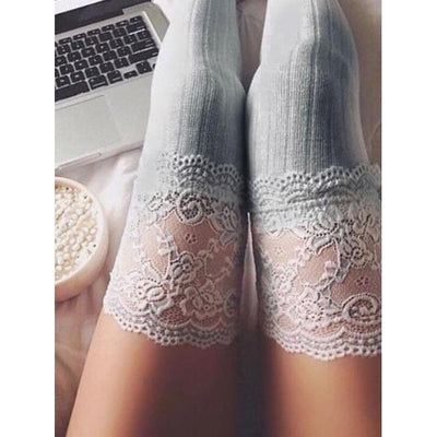 Lace Trim Top Over the Knee Knitted Stocking Socks #JU2369-Juku Store