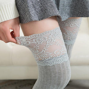 Lace Trim Top Over the Knee Knitted Stocking Socks #JU2369-Gray-Juku Store