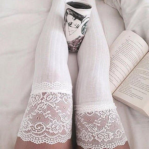Lace Trim Top Over the Knee Knitted Stocking Socks #JU2369-White-Juku Store
