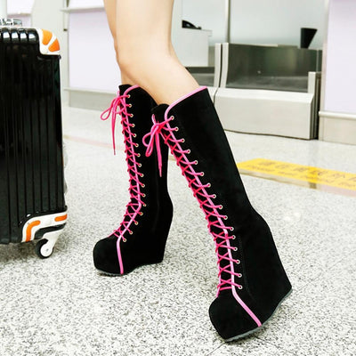 Lace Up High Heel Platform Boots Harajuku Shoes #JU2749-Magenta-37-Juku Store