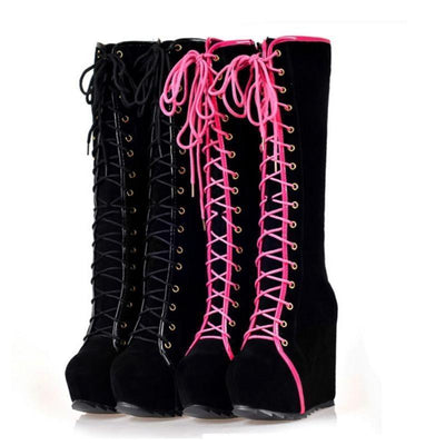 Lace Up High Heel Platform Boots Harajuku Shoes #JU2749-Juku Store