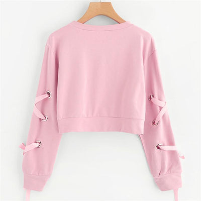 Lace-up Sleeve Crop Top Sweatshirt Pastel Pullover #JU2495-Juku Store