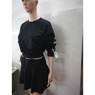 Lace-up Sleeve Crop Top Sweatshirt Pastel Pullover #JU2495-Black-L-Juku Store