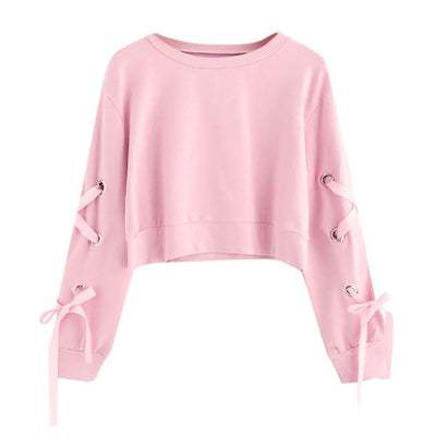 Lace-up Sleeve Crop Top Sweatshirt Pastel Pullover #JU2495-Pink-L-Juku Store