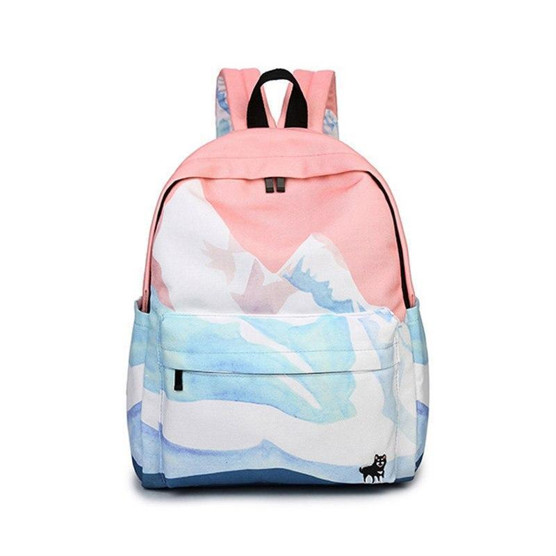 Landscape Backpack Pastel Watercolor School Bag [4 Styles] #JU2048-Pink-Juku Store