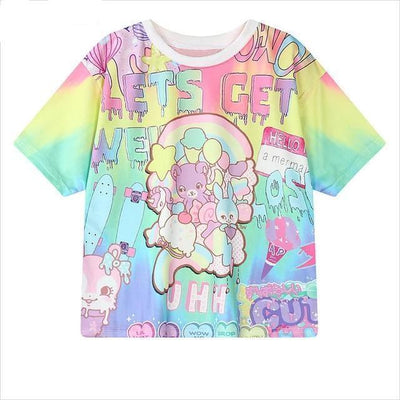 Lets Get Weird Pastel Bear T-Shirt Harajuku Top #JU2544-Blue-One Size-Juku Store