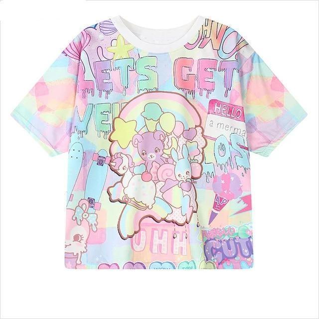 Lets Get Weird Pastel Bear T-Shirt Harajuku Top #JU2544