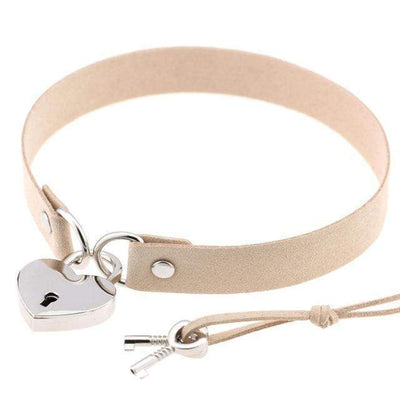 Locked Heart Punk Pendant Choker [14 Colors] #JU1894-Beige-Juku Store