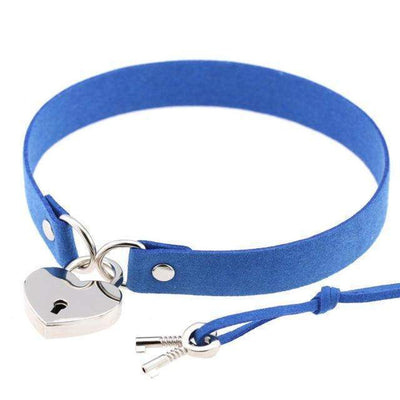 Locked Heart Punk Pendant Choker [14 Colors] #JU1894-Blue-Juku Store