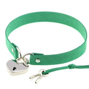 Locked Heart Punk Pendant Choker [14 Colors] #JU1894-Green-Juku Store