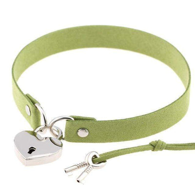 Locked Heart Punk Pendant Choker [14 Colors] #JU1894-Olive Green-Juku Store