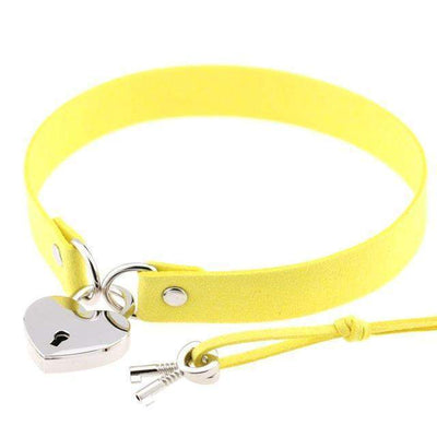 Locked Heart Punk Pendant Choker [14 Colors] #JU1894-Yellow-Juku Store