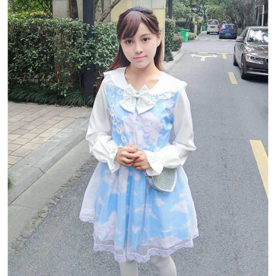 Lolita Blue Sky Sailor Collar Dress [2 Styles] #JU2297-Juku Store