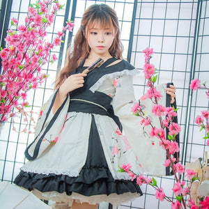 Lolita Kimono Dress Sweet Cherry Blossom [2 Colors] #JU2106-Beige-S-Juku Store