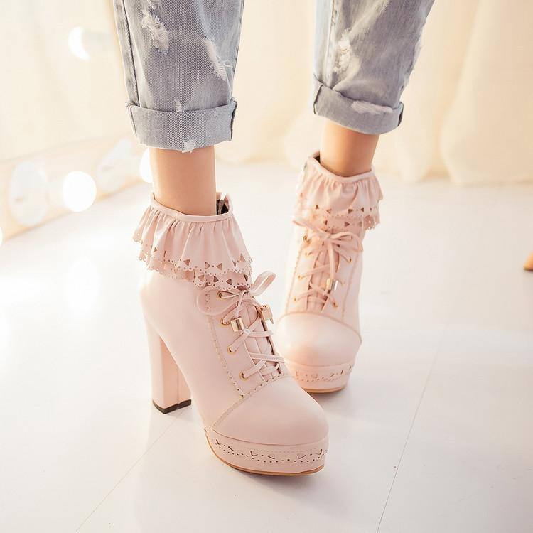 Lolita Laced Kawaii Ankle Boots High-heeled Shoes [6 Colors] #JU2008-Juku Store