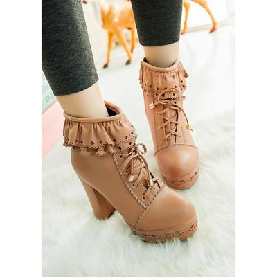 Lolita Laced Kawaii Ankle Boots High-heeled Shoes [6 Colors] #JU2008-Apricot-35-Juku Store