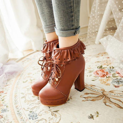Lolita Laced Kawaii Ankle Boots High-heeled Shoes [6 Colors] #JU2008-Brown-36-Juku Store