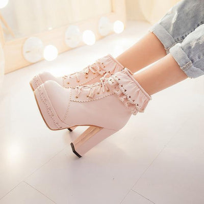 Lolita Laced Kawaii Ankle Boots High-heeled Shoes [6 Colors] #JU2008-Pink-35-Juku Store