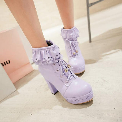 Lolita Laced Kawaii Ankle Boots High-heeled Shoes [6 Colors] #JU2008-Purple-35-Juku Store