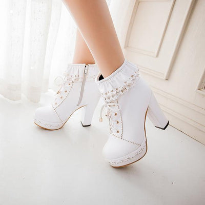 Lolita Laced Kawaii Ankle Boots High-heeled Shoes [6 Colors] #JU2008-White-36-Juku Store