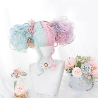 Lolita Pastel Pink and Mint Green Ombre Wig 57CM #JU2605-Juku Store