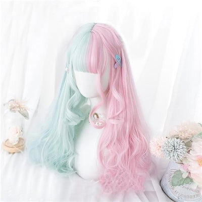 Lolita Pastel Pink and Mint Green Ombre Wig 57CM #JU2605-Wig-24 inches-Juku Store