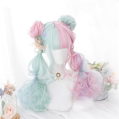Lolita Pastel Pink and Mint Green Ombre Wig 57CM #JU2605-Wig with Buns-24 inches-Juku Store