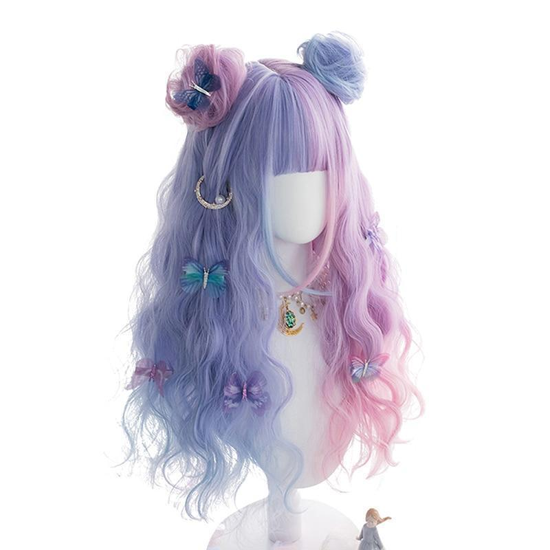 Lolita Pastel Purple and Blue Ombre Wig 65CM #JU2546-Wig and Buns-24 Inch-Juku Store