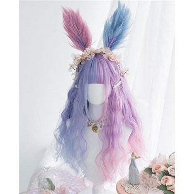 Lolita Pastel Purple and Blue Ombre Wig 65CM #JU2546-Wig and Headband-24 Inch-Juku Store