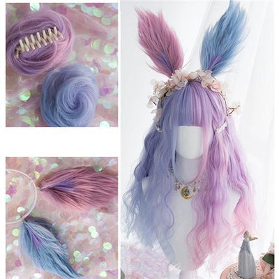 Lolita Pastel Purple and Blue Ombre Wig 65CM #JU2546-Wig, Buns and Headband-24 Inch-Juku Store